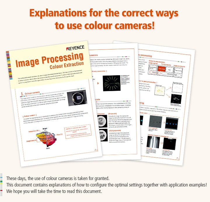 These days, the use of colour cameras is taken for granted.  This document contains explanations of how to configure the optimal settings together with application examples!  We hope you will take the time to read this document.