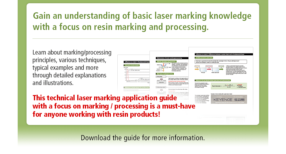 Gain an understanding of basic laser marking knowledge with a focus on resin marking and processing. Learn about marking/processing principles, various techniques, typical examples and more through detailed explanations and illustrations. This technical laser marking application guide with a focus on marking / processing is a must-have for anyone working with resin products! Download the guide for more information.